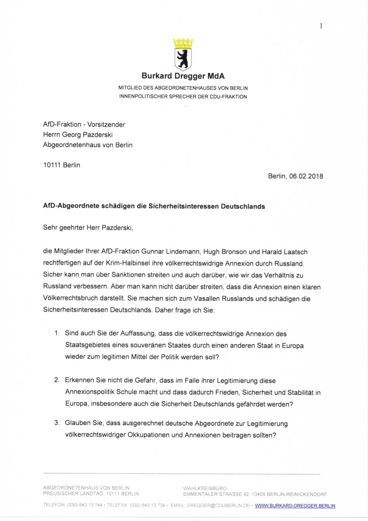 Burkard Dregger Mda Offener Brief An Herrn Pazderski